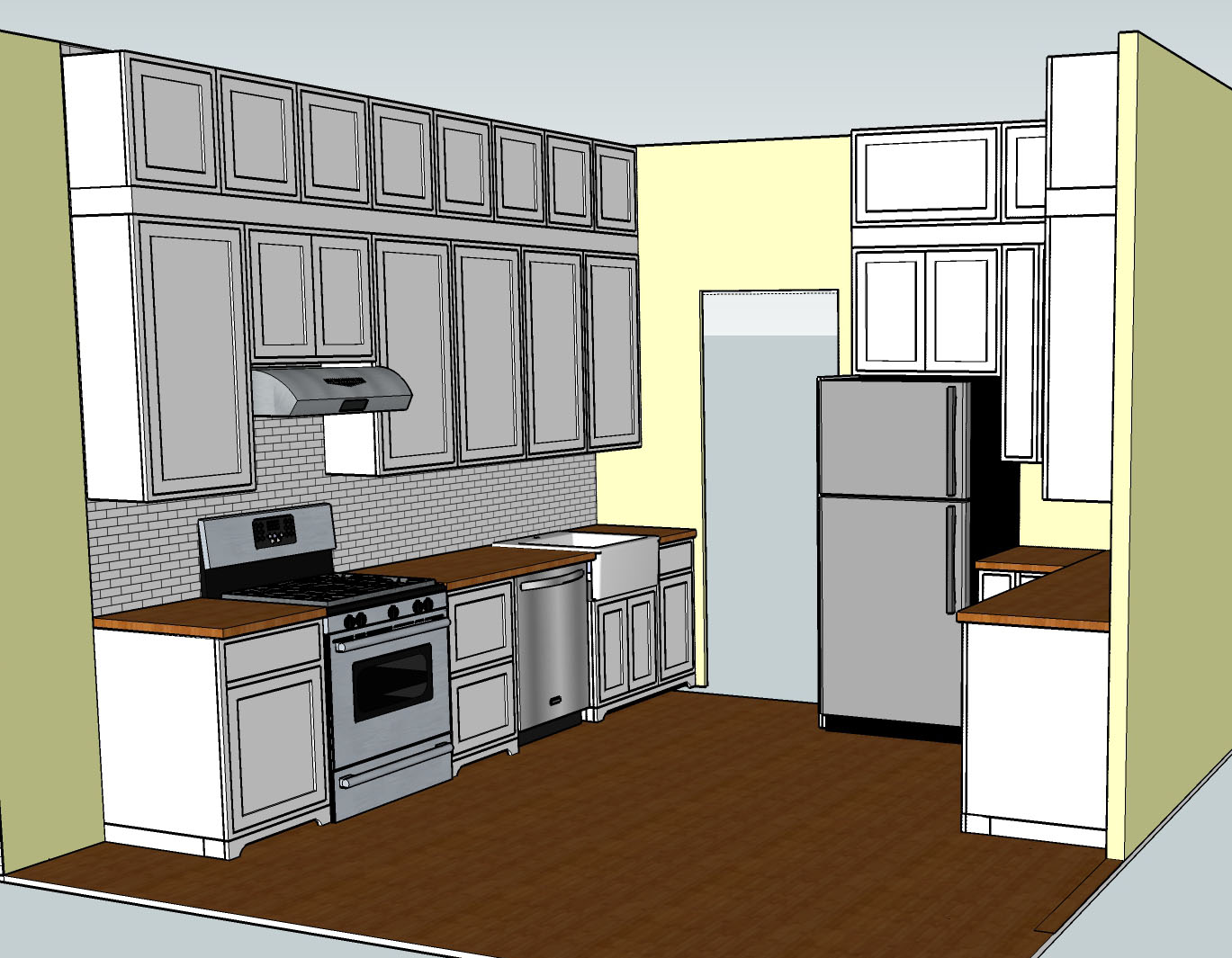 I Finally Have What I Think Is The Final Kitchen Layout. (And Iu0027m Now A Lot  Faster At SketchUp.) Note That The Top Run Of Cabinets And Library Ladder  Rail ...