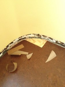 This curved corner was fun. I cut paper templates, then traced around them onto the cork with a sharp utility knife.